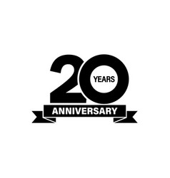 20 years anniveversary banner on isolated white vector image
