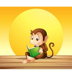 A monkey reading vector image