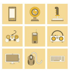 Assembly flat icon joystick webcam mobile phone vector