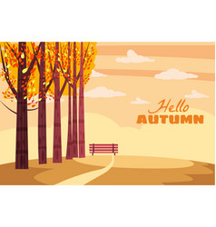 Autumn landscape fall trees with yellow leaves vector
