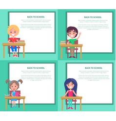 back to school set of kids vector image