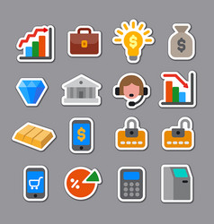 banking and finance stickers set vector image