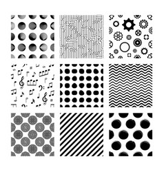 Black seamless pattern collection on white vector