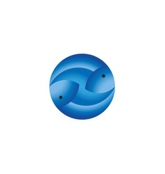 bluefin tuna logo two blue fish for seafood vector image