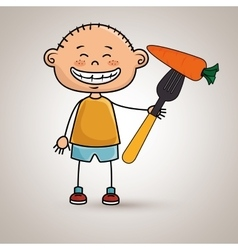 Boy vegetables fork carrot vector