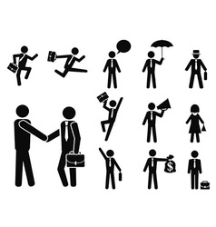 businessman pictogram icons set vector image