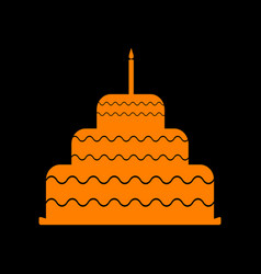 cake with candle sign orange icon on black vector image
