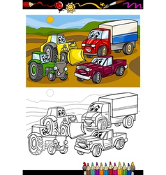 cartoon cars and trucks for coloring book vector image