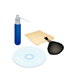 CD or DVD with Cleaner Accessories and Solution vector