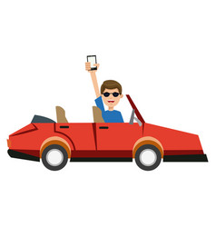 Character man in car coupe holding smartphone vector