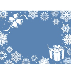 Christmas greeting card in blue shades vector image