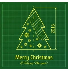 Christmas tree on graph paper vector