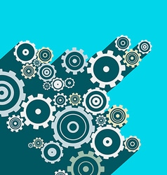Cogs - Gears Long Shadow Flat Design Technology vector image