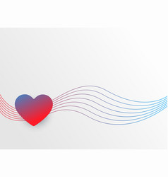 Colorful heart with wavy lines valentines day vector