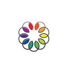 colorful spectrum leaves circle design vector image
