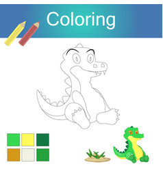 Coloring book with animal outline artwork page vector