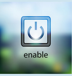 Computer power button icon on the blurred vector