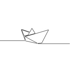 Continuous line drawing simple paper ship vector