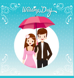 Couple under umbrella together in the rain vector