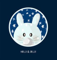 Cute birthday baby sticker with rabbit vector