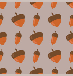 Cute seamless pattern made brown acorns vector