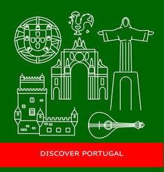 Discover portugal banner or poster template vector