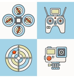 Drone Line Icons Color vector image