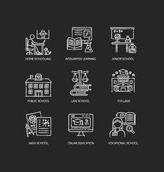 Education system chalk white icons set on black vector