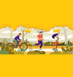 Exercise people in the park for a healthy life vector