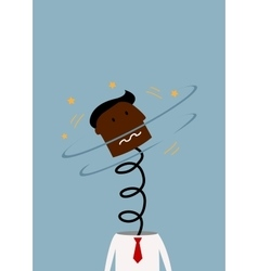 Exploded black businessman with head on spring vector