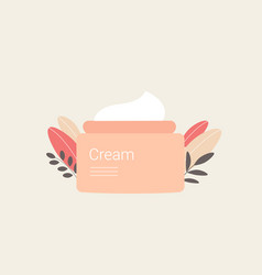 Face cream with plant leaves vector