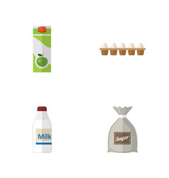 Flat icon eating set of sack bottle eggshell box vector