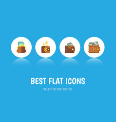 flat icon purse set of finance payment money and vector image