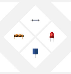 Flat icon technology set of resistor bobbin vector