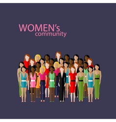 Flat women community with a large group of vector