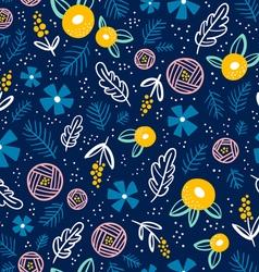 Floral doodle pattern on blue vector image