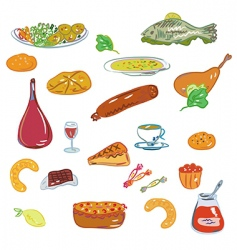 food and sweets set vector image