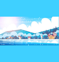 frozen river view with small country houses on vector image
