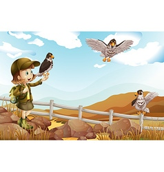 Girl and wild eagles flying vector