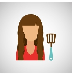 Girl with spoon icon vector