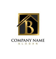 Gold letter b house logo vector