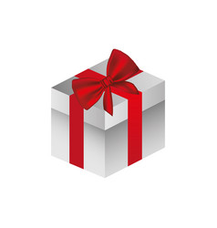 gray square gift box with red ribbon vector image