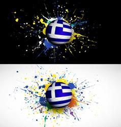 greece flag with soccer ball dash on colorful vector image