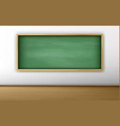 green blackboard chalkboard in empty classroom vector image