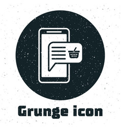 grunge mobile phone and shopping basket icon vector image