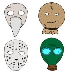 Haloween mask set vector