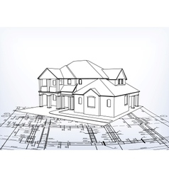 House technical draw vector image