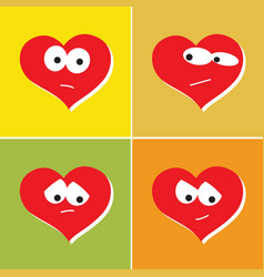 human heart in different emotions set icons vector image