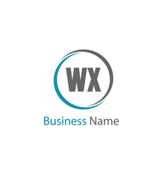 initial letter wx logo template design vector image