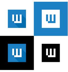 initial w logo icon blue square shape design vector image